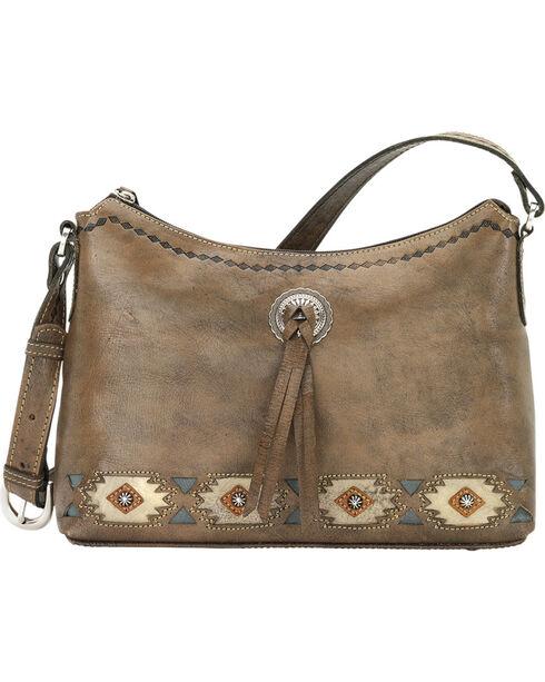 American West Women's Native Sun Zip-Top Shoulder Bag, Brown, hi-res