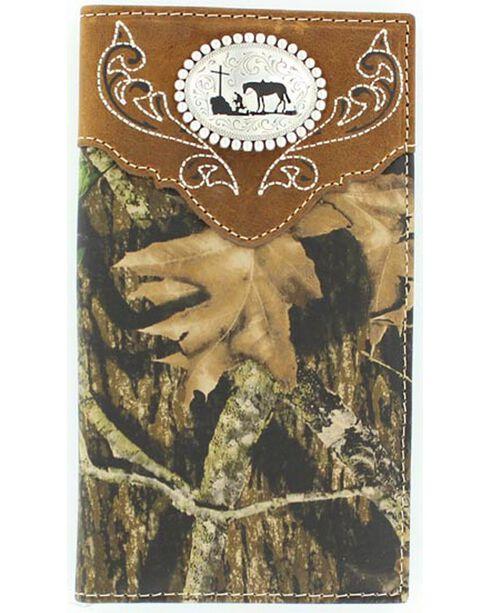 Nocona Belt Co Men's Christian Cowboy Rodeo Wallet and Checkbook Cover, Mossy Oak, hi-res