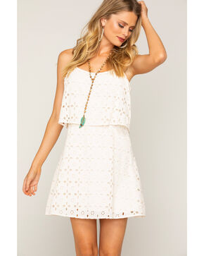 Shyanne Women's Eyelet Lace Spaghetti Strap Dress, White, hi-res
