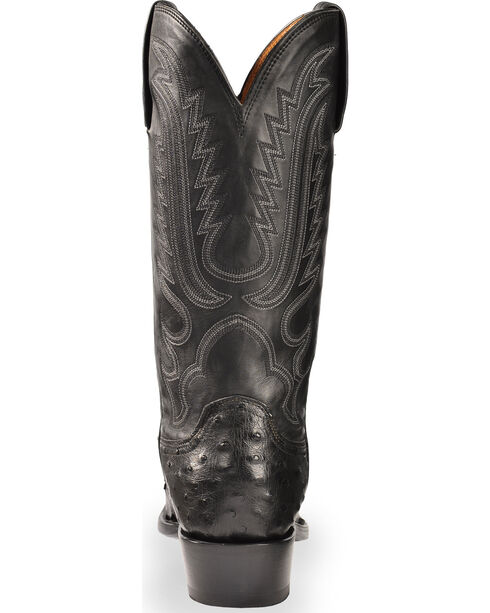 Lucchese Men's Black Luke Full Quill Ostrich Boots - Snip Toe , Black, hi-res