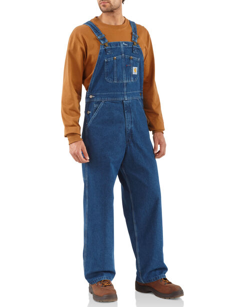 Carhartt Men's Washed-Denim Bib Unlined Overalls, Dark Stone, hi-res