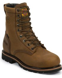 "Justin Men's 8"" Waterproof Lace-Up Work Boots, , hi-res"