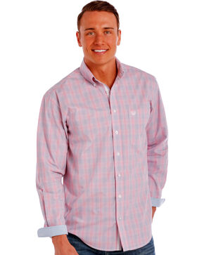 Panhandle Slim Men's Pink Redington Ombre Plaid Shirt , Pink, hi-res