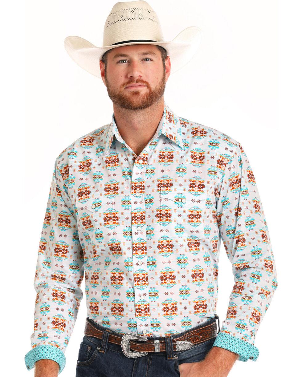 Rough Stock by Panhandle Men's Vintage Aztec Print Long Sleeve Shirt, White, hi-res