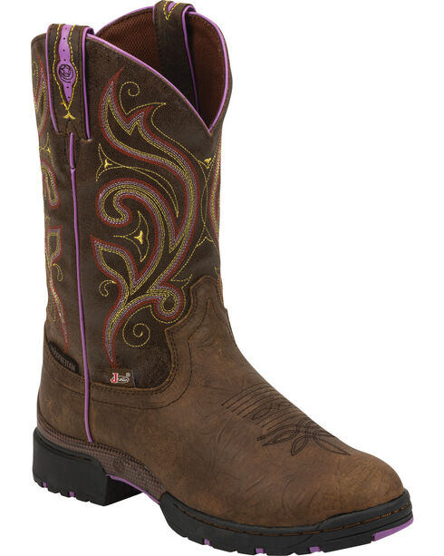 "Justin Women's 11"" Soft Toe Western Work Boots, Golden, hi-res"