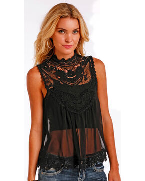 Panhandle Slim Women's Black Chiffon Babydoll Blouse , Black, hi-res