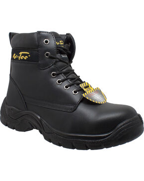 "Ad Tec Men's Leather 6"" Lace-Up Work Boots - Steel Toe, Black, hi-res"
