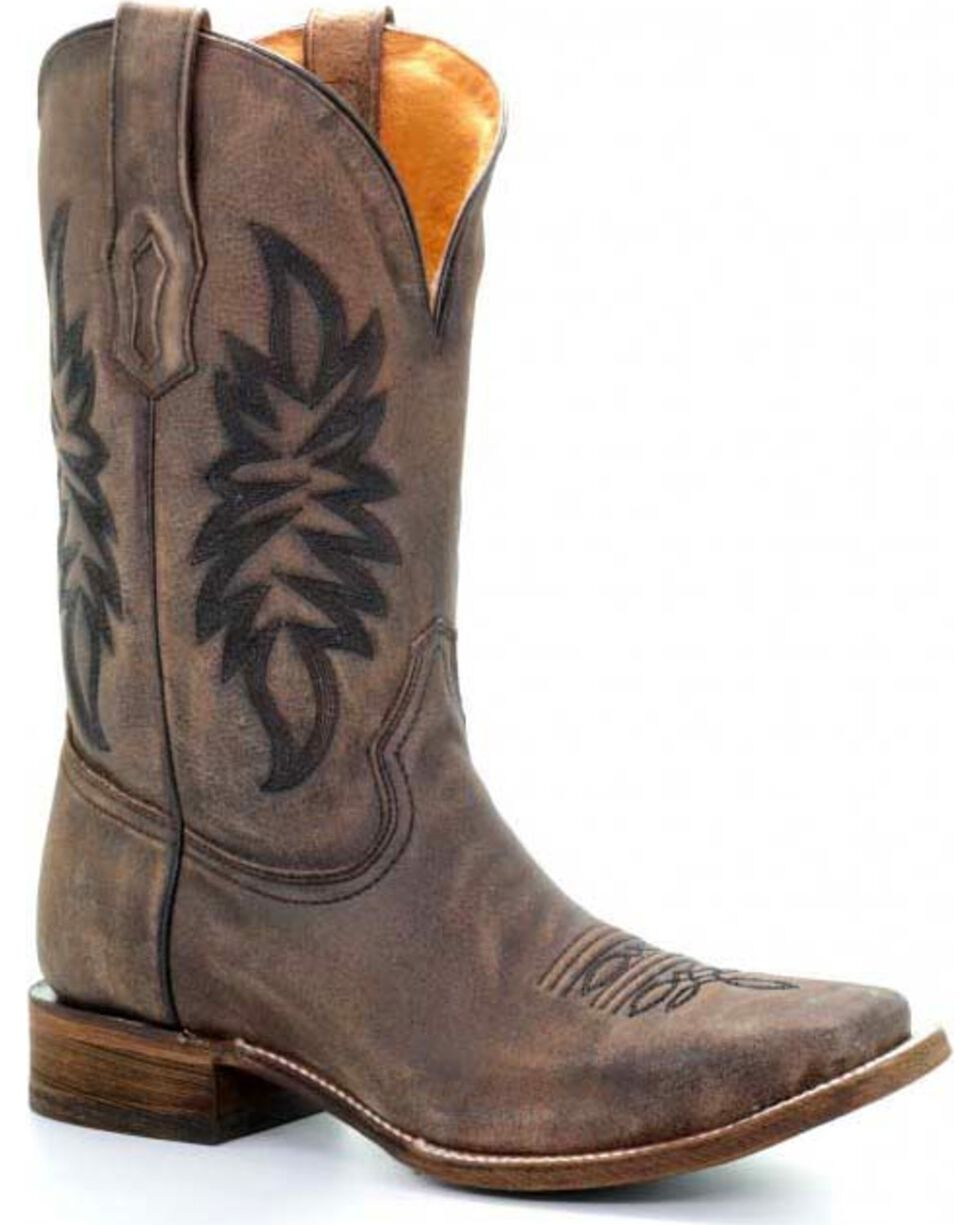 Corral Men's Classic Square Toe Western Boots, Brown, hi-res