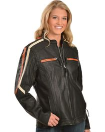 Interstate Leather Women's Striped Motorcycle Jacket, Black, hi-res