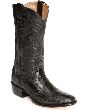 Dan Post Ostrich Leg Cowboy Boots - Square Toe, Black, hi-res