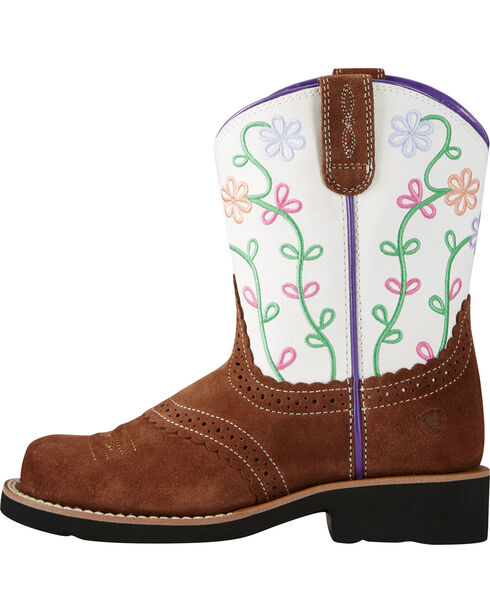 Ariat Youth Girls' Fatbaby Blossom Western Boots, Brown, hi-res