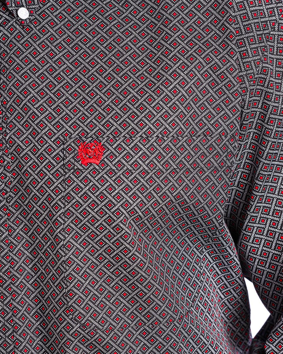 Cinch Men's Black Diamond Geo Print Shirt , Black, hi-res