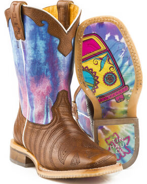 Tin Haul Girls' Peace Out Love Sole Cowgirl Boots - Square Toe, Brown, hi-res