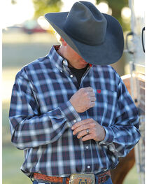 Cinch Men's Navy Long Sleeve Classic Fit Plaid Button Shirt - Big & Tall, , hi-res