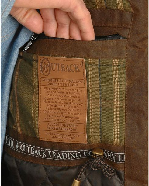 Outback Trading Men's Oilskin Deer Hunter Vest, Brown, hi-res