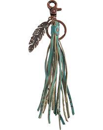 BB Ranch Rhinestone Feather Charm Tassel Keychain, , hi-res