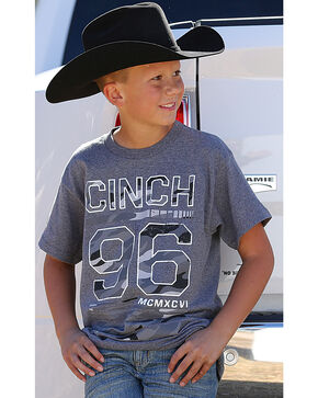 Cinch Boys' Short Sleeve Camo Logo Jersey Tee, Heather Grey, hi-res