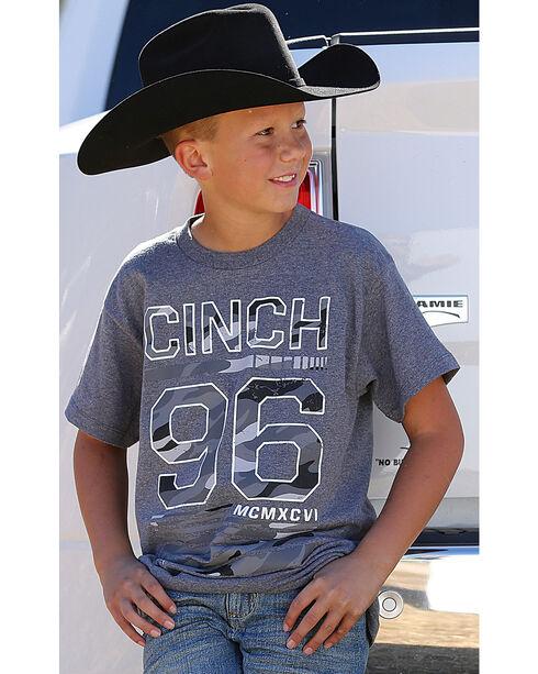 Cinch Boys' Short Sleeve Camo Logo Jersey Tee, Heather Grey, hi-res