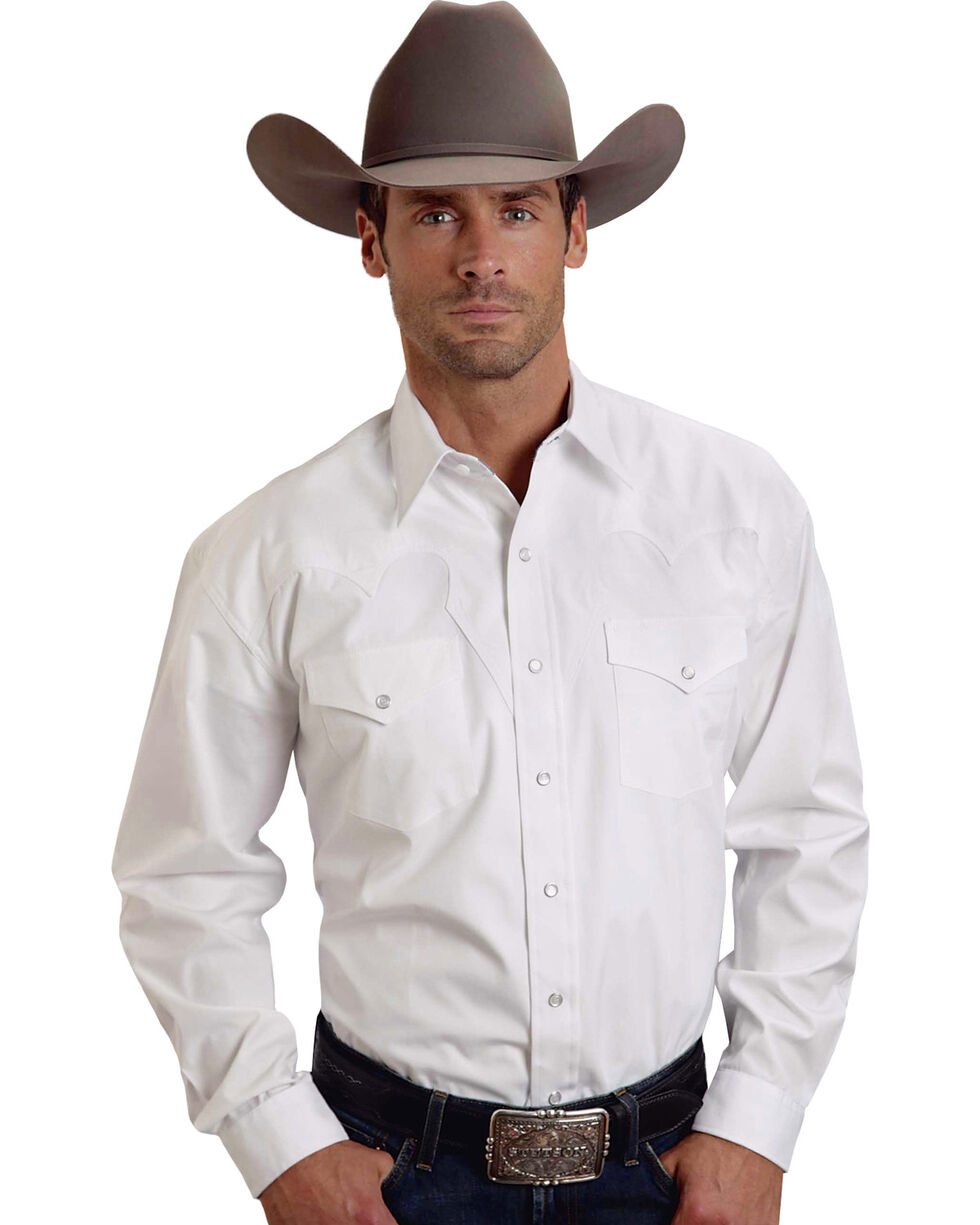 Stetson Men's Long Sleeve Solid Western Shirt, White, hi-res