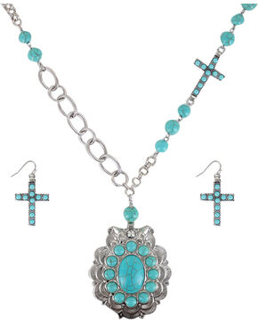 Shyanne® Women's Turquoise Cross Jewelry Set, Turquoise, hi-res