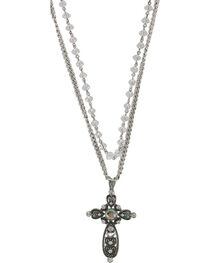 Shyanne® Women's Layered Rhinestone Cross Necklace, , hi-res