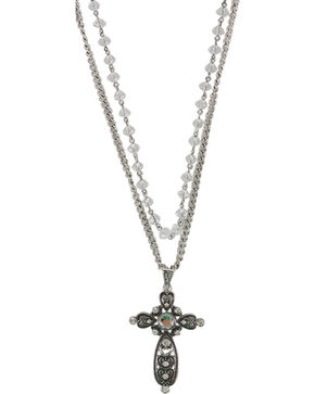 Shyanne® Women's Layered Rhinestone Cross Necklace, Silver, hi-res