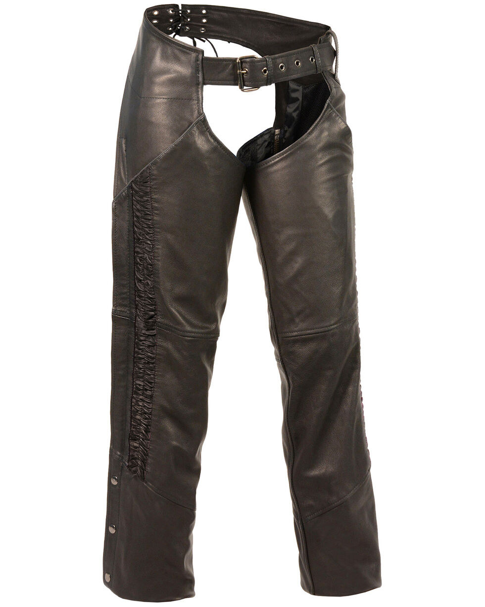 Milwaukee Leather Women's Lightweight Low Rise Crinkled Striping Chaps - 5X, , hi-res