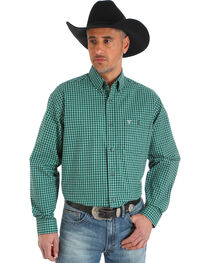 Wrangler 20X Men's Green/Black/White Advanced Comfort Competition Shirt - Big & Tall, , hi-res