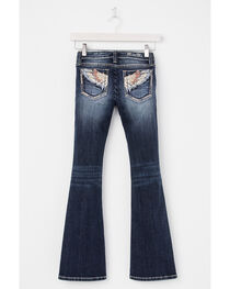 Miss Me Girls' Embroidered Wings On Pocket Jeans - Boot Cut, , hi-res