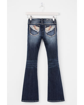 Miss Me Girls' Embroidered Wings On Pocket Jeans - Boot Cut, Indigo, hi-res