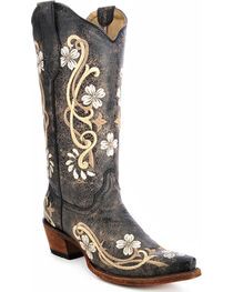 Circle G Women's Floral Embroidered Western Boots, , hi-res