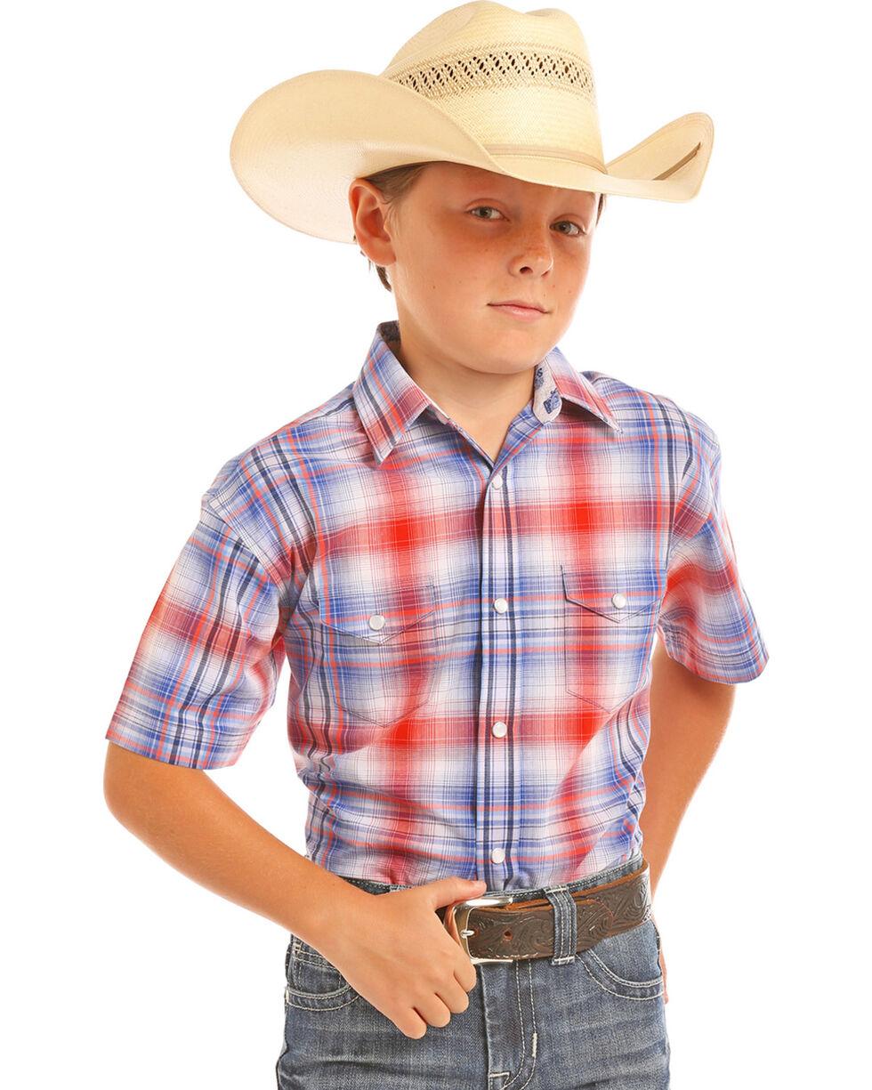 Panhandle Boys' Short Sleeve Plaid Snap Shirt, Royal Blue, hi-res