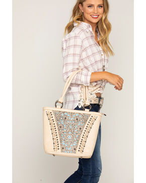 Shyanne Women's Tooled Leather Concealed Carry Tote, Beige/khaki, hi-res