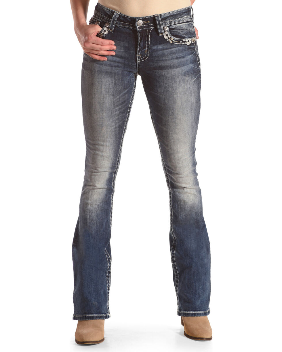 "Miss Me Women's Wing Flap Pocket Boot Cut Jeans - 34"" Inseam , Blue, hi-res"