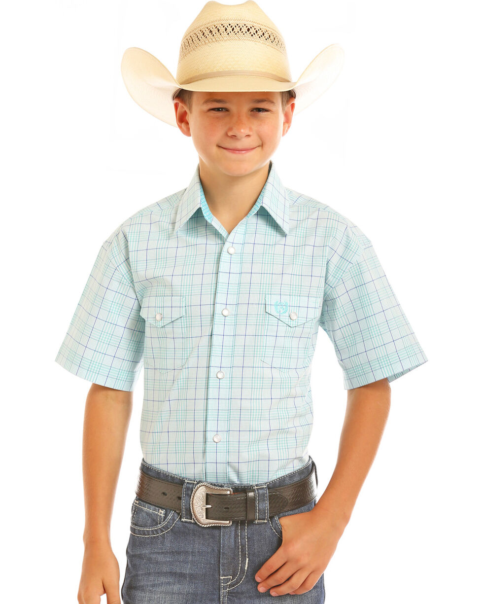 Panhandle Boys' Checkered Plaid Short Sleeve Snap Shirt, Aqua, hi-res