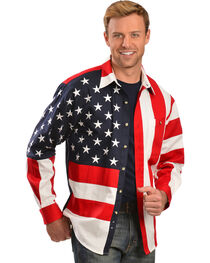 Scully Patriotic American Flag Western Shirt - Big, , hi-res