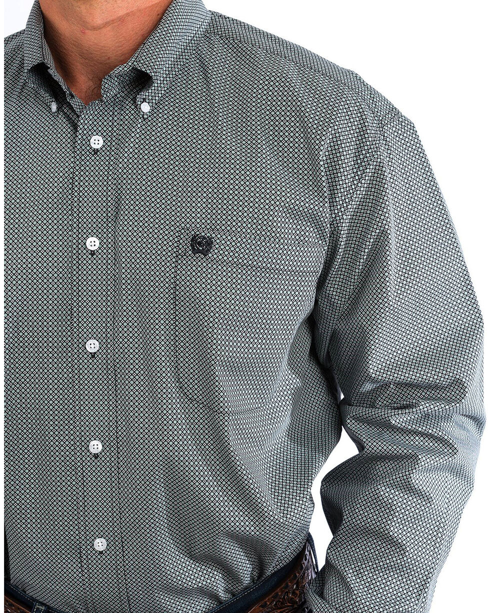 Cinch Men's Grey & White Geo Print Western Button Down Shirt, Multi, hi-res