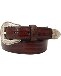 Dan Post Men's Tapered Lizard Print Leather Belt, , hi-res