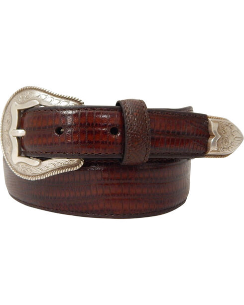 Dan Post Men's Tapered Lizard Print Leather Belt, Brown, hi-res