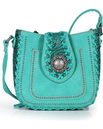 Trinity Ranch Women's Turquoise Whipstitch Filigree Shoulder Bag , , hi-res