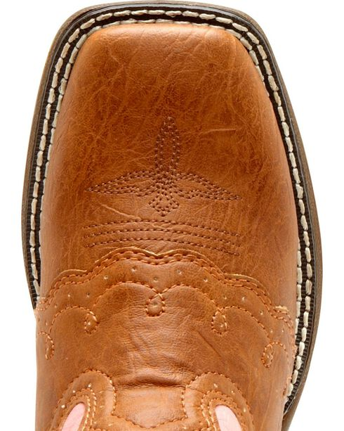 Durango Youth Pink Lil' Flirt Cowgirl Boots - Square Toe, Tan, hi-res