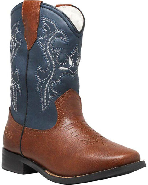 """Ad Tec Children's 8"""" Pull On Western Boots, Brown/blue, hi-res"""