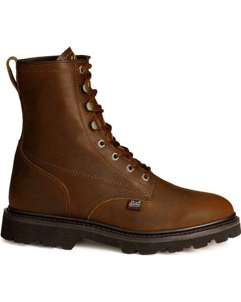 "Justin Men's Premium 8"" Lace-Up Work Boots, Tan, hi-res"