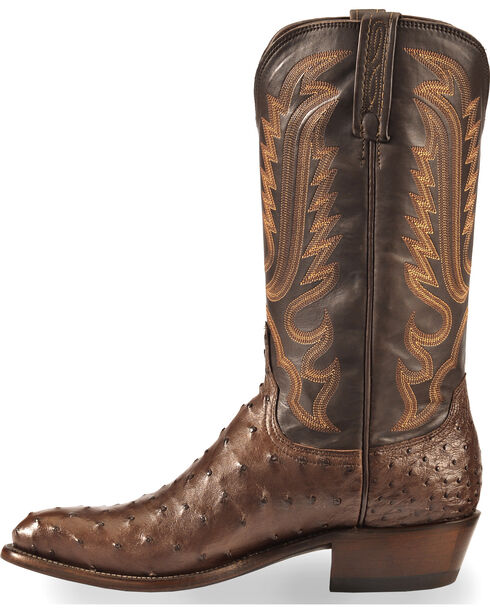 Lucchese Men's Handmade Dark Brown Luke Full Quill Ostrich Boots - Medium Toe , Dark Brown, hi-res