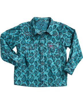 Cowboy Hardware Toddler Girls' Paisley Embellished Long Sleeve Shirt, Turquoise, hi-res