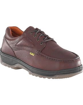 Florsheim Men's Compadre Internal Met Guard Steel Toe Lace-Up Oxford Shoes, Brown, hi-res