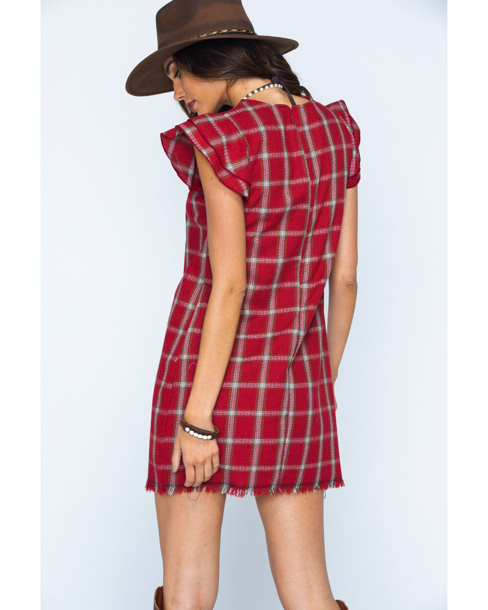 Ces Femme Women's Red Plaid Ruffle Sleeve Dress, Red, hi-res