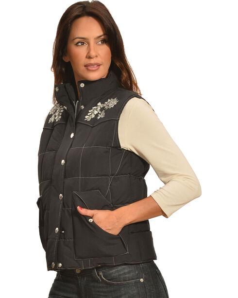 Cowgirl Hardware Women's Floral Embroidered Vest, Black, hi-res