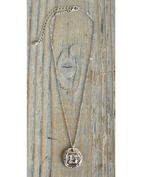 Shyanne Women's Horseshoe Stamped Pendant Necklace, Silver, hi-res
