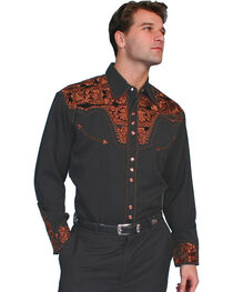 Scully Multi-Color Floral Embroidery Retro Western Shirt - Big, , hi-res